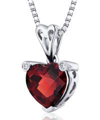 Eppi Granátové srdce ve stříbrném náhrdelníku Naganika