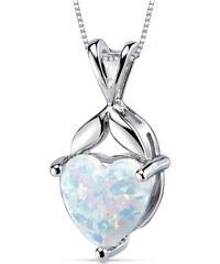 Eppi Stříbrný náhrdelník s opálovým srdcem Akie