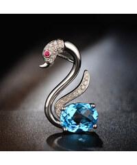 Eppi Zlatá labuť s modrým topazem a diamanty Swaniee