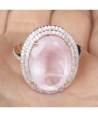 Eppi Zlatý prsten s růžovým quartzem a diamanty Karse