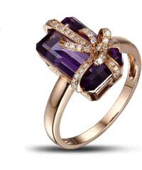 Eppi Zlatý prsten s ametystem v diamantové mašličce Edreen