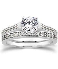 Eppi Zásnubní a snubní prsten z bílého zlata s diamanty Juliza