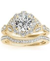 Eppi Vintage set prstenů ze žlutého zlata vykládaného diamanty Jill