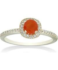 Eppi Oranžový safír ve zlatém prstenu s diamanty Cruz