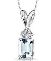Eppi Zlatý náhrdelník s akvamarínem a diamanty Deandra