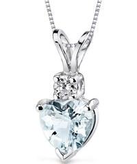 Eppi Zlatý náhrdelník s akvamarínovým srdíčkem a diamantem Chrissy