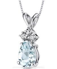 Eppi Akvamarínová slza s diamanty ve zlatém náhrdelníku Eldeane