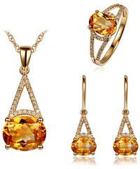 Eppi Zlatá souprava s citríny a diamanty Geena