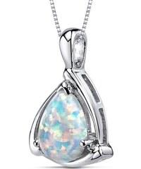 Eppi Stříbrný náhrdelník s bílou opálovou kapkou Cloe