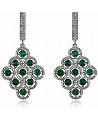 Eppi Luxusní visací náušnice se smaragdy a diamanty Clemence