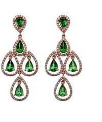 Eppi Luxusní zlaté náušnice s granáty a diamanty Kersten