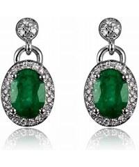 Eppi Smaragdové zlaté náušnice s diamanty Cyrene a7349c7ca56