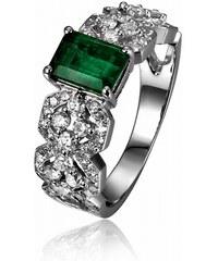Eppi Luxusní zlatý prsten se smaragdem a diamanty Imani