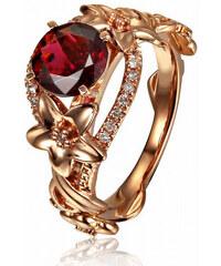 Eppi Zlatý prsten s turmalínem plný květů a diamantů Iriana