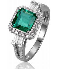 Eppi Zlatý prsten se smaragdem obklopeným diamanty Carli