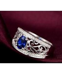 Eppi Královský prsten s modrým safírem a diamanty Kamari