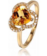 Eppi Zlatý citrínový prsten s diamanty Joely