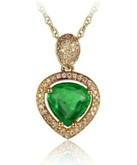Eppi Jemný zlatý náhrdelník se smaragdem a diamanty Alea