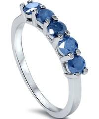 Eppi Prsten z bílého zlata osazený modrými diamanty Audrey