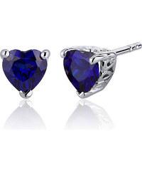Eppi Stříbrné náušnice s tmavě modrými safírovými srdíčky Cydney