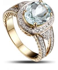 Eppi Čarokrásný zlatý prsten s akvamarínem a diamanty Borgny