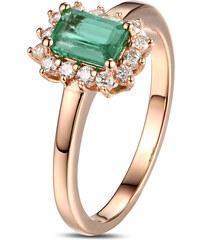 Eppi Prsten z růžového zlata se smaragdem a diamanty Cochiti