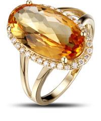 Eppi Půvabný zlatý prsten s 5ct citrínem a diamanty Aiofe
