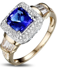 Eppi Královský zlatý prsten s cushion tanzanitem a diamanty Glenna