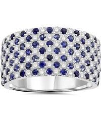 Eppi Luxusní zlatý prsten s modrými safíry a diamanty Kalena