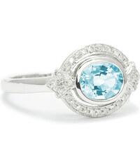 Eppi Zlatý prsten s oválným akvamarínem a diamanty Kantha