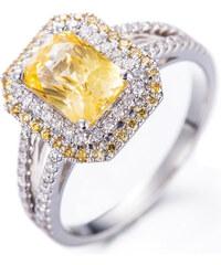 Eppi Krásný citrín obklopený diamanty v zlatém prstenu Dixie
