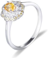 Eppi Zlatý prsten se žlutým safírem a diamanty Liolia