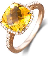 Eppi Prsten z růžového zlata s citrínem a diamanty Pansy