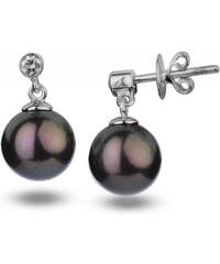Eppi Černé sladkovodní perly v náušnicích s diamanty Dinah