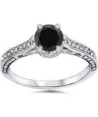 Eppi Zlatý zásnubní prsten ve vintage stylu s černým diamantem Denica
