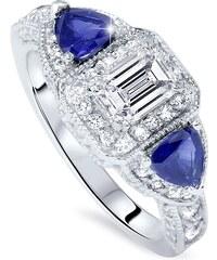 Eppi Honosný prsten z bílého zlata s diamanty a safíry Caree