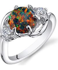 Eppi Stříbrný prsten s černým opálem Palmelyne