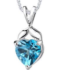 Eppi Stříbrný náhrdelník se srdíčkovým topazem Sada