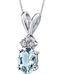 Eppi Zlatý náhrdelník s akvamarínem a diamanty Tamatha