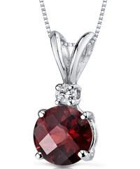 Eppi Okrouhlý granát ve zlatém náhrdelníku s diamantem Ellanah