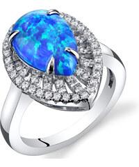Eppi Opálová slza ve stříbrném prstenu se zirkony Salomeli