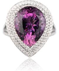 Eppi Ametystová slza ve zlatém prstenu s diamanty Safrone