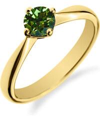 Eppi Zásnubní prsten se zeleným diamantem Damny