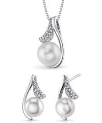 Eppi Stříbrná kolekce šperků s perlami a zirkony Elgyra