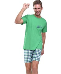 Taro Krátké pánské pyžamo Ignac zelené