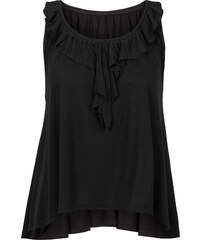 RAINBOW Top à volant et nœud noir manches courtes femme - bonprix