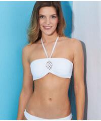 Haut de maillot de bain bandeau padd amovible à doublure épaisse, détail macramé centre Etam