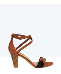 Sandales en suédine, détails géométriques Etam