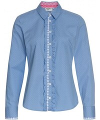 Distler Damen Bluse körperbetont blau aus Baumwolle