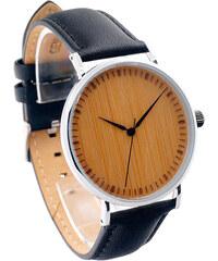Lesara Leder-Armbanduhr mit Bambus-Zifferblatt